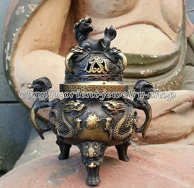 Old Bronze Gilt Dragon Foo Dog Lion Beast Statue Incense Burner Censer