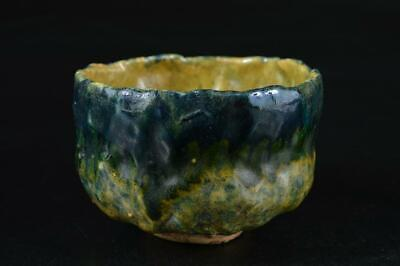 S2500: Japanese Old Raku-ware Green glaze TEA BOWL Green tea tool Tea Ceremony