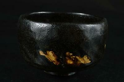 S2968: Japanese Old Raku-ware Black glaze TEA BOWL Green tea tool Tea Ceremony
