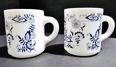 2 Vtg Glasbake Milk White Glass Blue Onion Pattern Coffee Mugs Stackable Cups