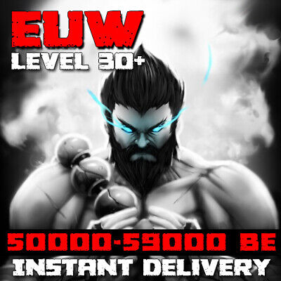 League of Legends Account EUW 50000 LoL 59000 BE IP Smurf Unranked 30+ level PC