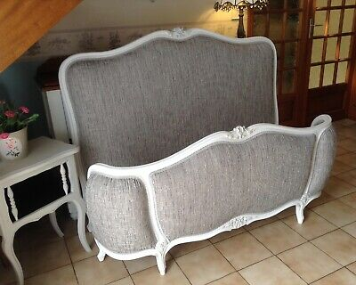 French Demi Corbeille Double Bed Frame -  White Frame New Flint Grey Upholstery