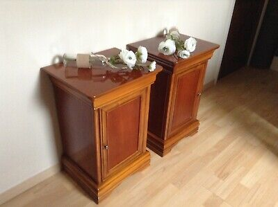 French Bedside Tables - Pair Of Cherry Wood - Cupboards