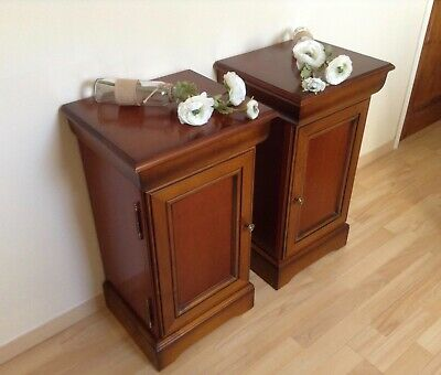 Pair Bedside Tables - French Louis - Cherry Wood - Elegant Heavy Tables