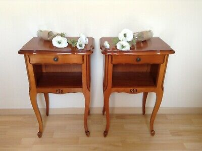 Pretty Pair Vintage French Cherry Wood Bedside Tables - One Drawer