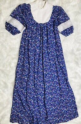 Vintage 70s Prairie Maxi Dress Medium Blue Purple Floral Lace Hippie Calico