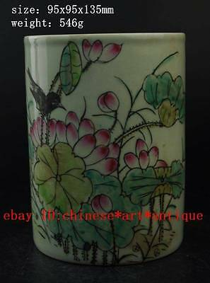Chinese Famille rose hand painted porcelain - flowers bird Brush Pots