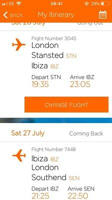 2 X Easyjet Flights Ibiza Departing Stansted 20 July Returning Southend 27 July