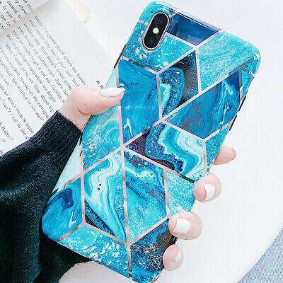 Electroplate Splice Marble Rubber Soft Case Cover For iPhone XS Max XR X 8 7 6s