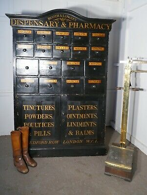 19th Century Chemist Drawers 37 Drawer, Painted Pharmacists Cabinet