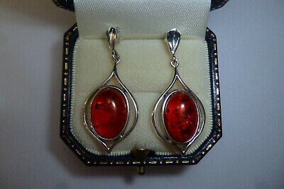 Vintage Arts & Crafts Style Sterling Silver Marked 925 Pair Of Amber Earrings