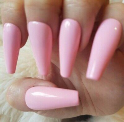 Light Pink Tapered XLong Coffin False Nails, Glossy. 20 Hand Painted. Press on.
