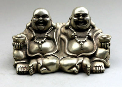 Collectables Old Chinese tibet silver carved buddha figurines statue