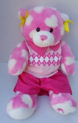 Build a Bear Pink White Hearts NEW outfit Preppy Vest Teddy Snuggle Collectors