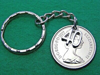 40th Birthday Anniversary gift 1980 large 5p five pence coin keyring bag charm