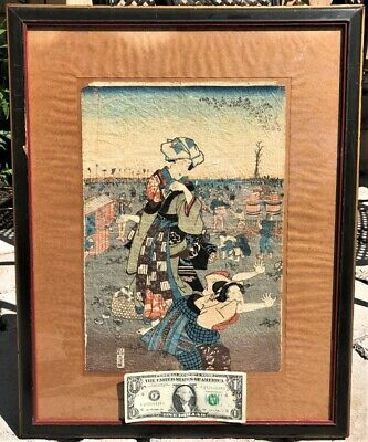 Original Antique Framed Colorful Japanese Woodblock Print Signed Fish Market Nr