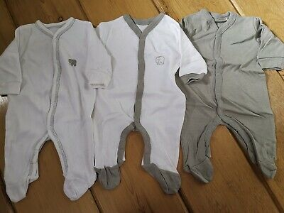3 pack baby girls boys babygrow sleepsuit cotton lilac long sleeve brand new