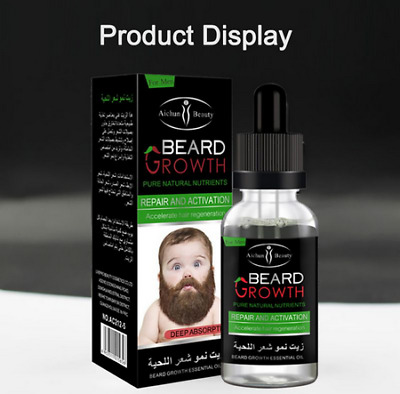 Men's Natural Moustache Beard Growth Oil 30ml Essential Beauty 100% Natural