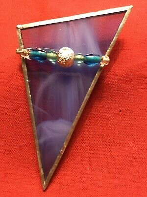 Vintage Large Handmade Stained Glass Brooch. Triangle In Blue With Beads.