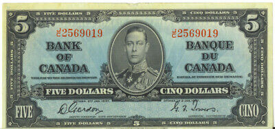 Bank of Canada 1937 $5 Five Dollars Note  Gordon -Towers J/C Prefix VF/F