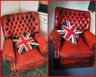 Matching Pair Of Vintage Art Forma Leather Pegasus Chesterfield Chairs Red 80's