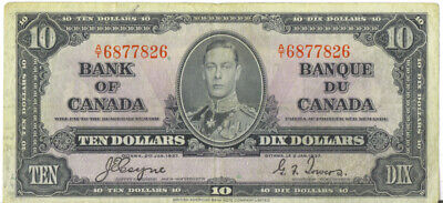 Bank of Canada 1937 $10 Ten Dollars Note Coyne -Towers A/T Prefix VF