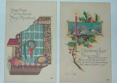 Pair of Arts & Crafts Christmas postcards 1924 & 1925
