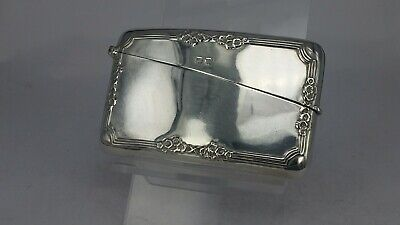 1922 Silver card case with floral relief surround pattern stunning condition
