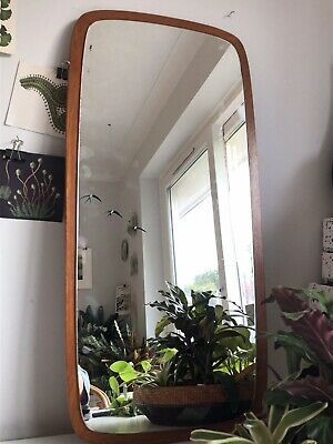 Vintage Mid Century Modern Retro 60s 70s Teak Wooden Wall Atomic Floating Mirror