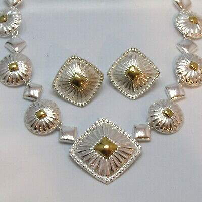 Vintage Necklace  Earrings SET Silver Gold Western Style AVON