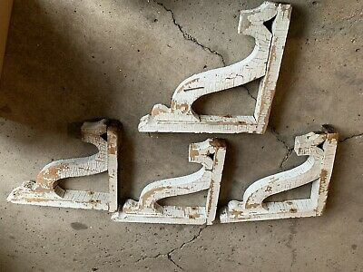 4 WOOD CORBELS Vintage Gable Brackets Corner Brace Roof Support Farm House