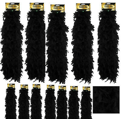 Bulk Black Fancy Dress Feather Boa 150Cm Burlesque Showgirl Hen Night Job Lot