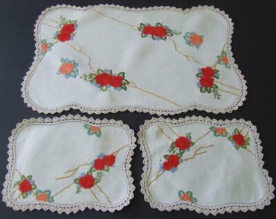 Stunning Hand Embroidered Vintage Duchess Set - Pretty Roses - Crocheted Edges