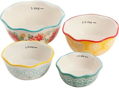Pioneer Woman Stoneware Vintage Floral 4 Piece Nesting Measuring Cups Bowls NEW