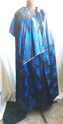 ELECTRIC BLUE 1920s DECO ANTIQUE OPERA DRESS CAPE