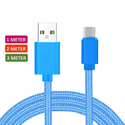 Heavyduty Braided Long Braided Charge USB C Type C Data 1M Blue Charger Cable