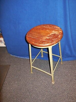 Swell Vintage Industrial Royal Industrial 28 Wood Metal Stool Andrewgaddart Wooden Chair Designs For Living Room Andrewgaddartcom
