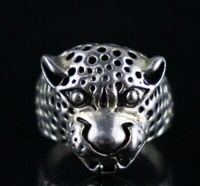 Collect China Old Tibet Silver Carve Shirty Leopard Head Unique Decorate Ring