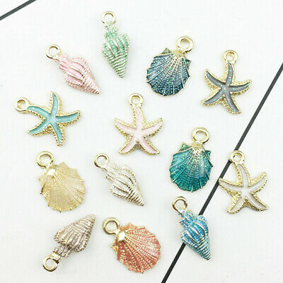 13Pcs/Set Mixed Starfish Conch Shell Metal Charm Pendant for DIY Jewelry Making