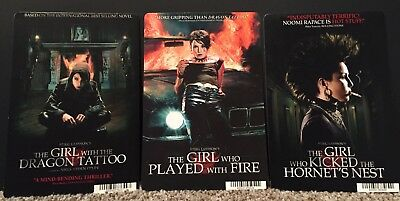 Girl With the Dragon Tattoo Trilogy Mini Movie Poster Backer Cards Original