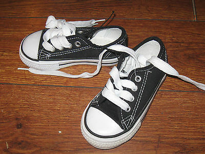 Kids Toddler Girls Boys Canvas Black CUTE Shoes Casual Lace-up Sz 6 NWOT