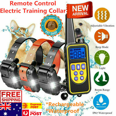 Pet Dog Rechargeable Remote Control Electric Training Collar LCD Display 800m