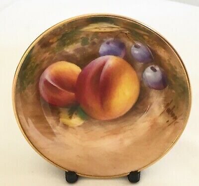 Vintage Royal Worcester Signed Hand Painted Fruit Peaches & Cherries Round Dish