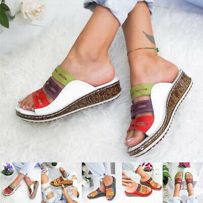 Ladies Womens Mule Sandals Casual Summer Comfort Wedges Heel Touch Strap Sizes
