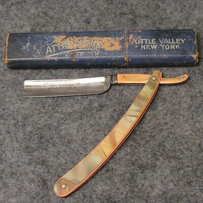 Cattaraugus Cutlery Co Little Valley NY Straight Razor Pink Celluloid w/ Overlay