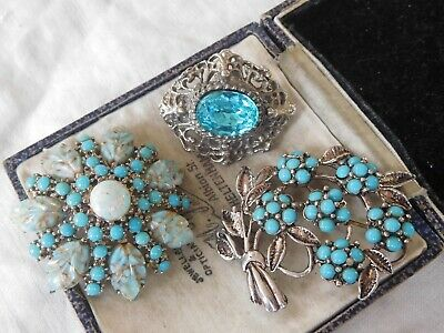Three Lovely Vintage 1950s/60s Blue Stone Brooches inc SPHINX