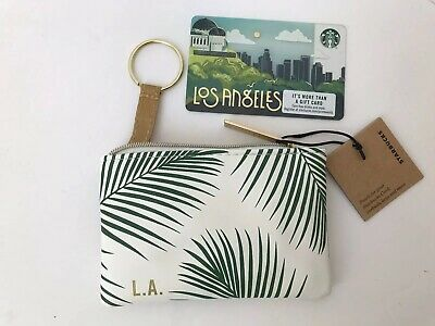 Starbucks Coin Pouch Key Purse Gift Card LOS ANGELES Summer 2019 Palm Trees NEW