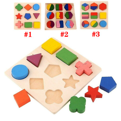 Kids Baby Wooden Learning Geometry Educational Toys Cartoon Puzzle Montessori