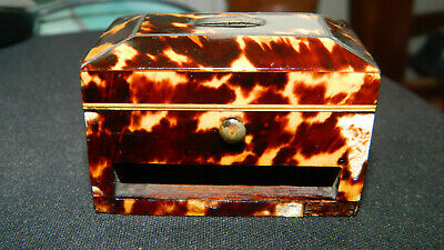 Rare Antique 19th Century  Faux Tortoiseshell Miniture Casket Ring/ Trinket Box
