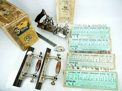 Stanley No 55 Universal Plane Rule Level New Britain Conn 4 Cutter Set Old Tools